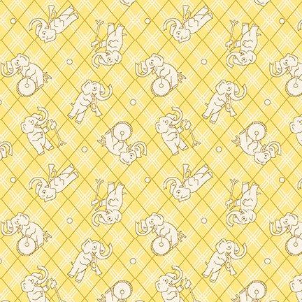 Nana Mae IV - Tossed Elephants on Yellow Plaid