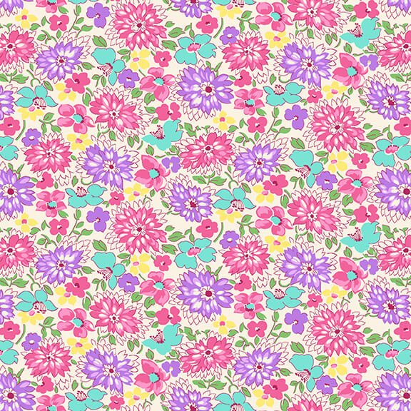 Nana Mae IV - Red/Aqua Wildflowers