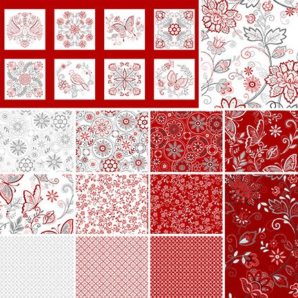 Scarlet Stitches and White Linen Fat Quarters