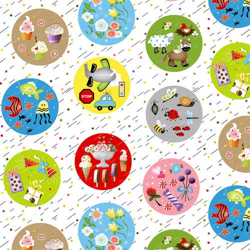 Q-1896-86 - I Spy - Motifs Bubbles White-Multi