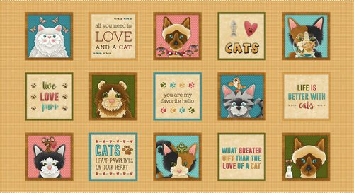 Live Love Meow - Gold Panel 24XWOF