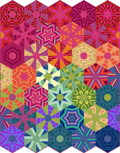Digital Quilt Panel - All Lined Up 62.5 x 79.5
