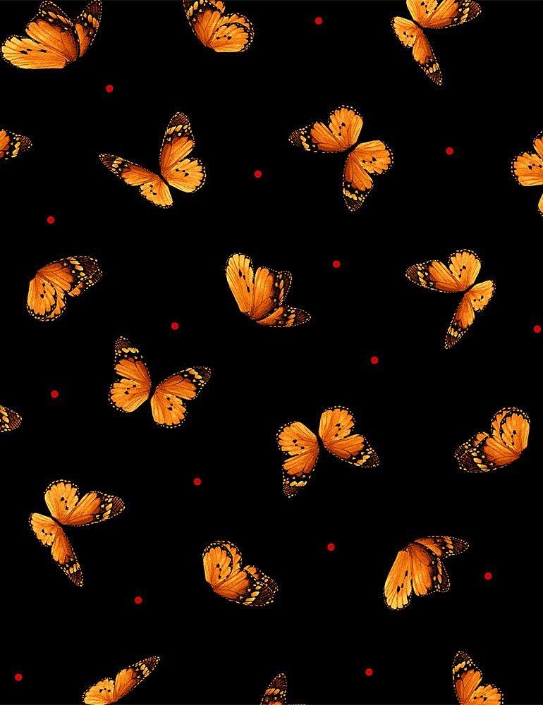 C8477-Black Wild Poppy / Tossed Butterflies
