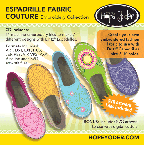 Espadrille Fabric Couture Embroidery CD w/SVG