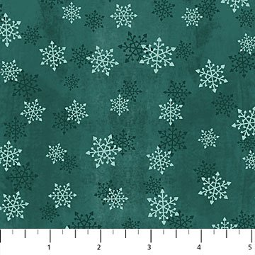 F24189-66 Warmin' Up Winter Flannel / Snowflakes - Teal