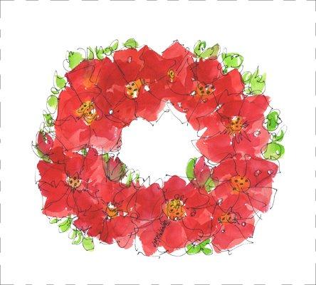 Watercolor on Kona- Poppy Wreath Perfect