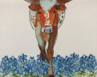 Longhorn Watercolor on Kona #4