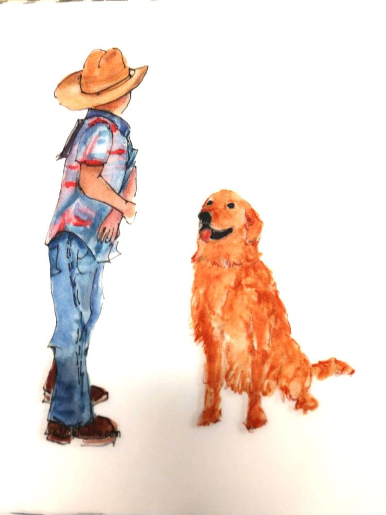 Watercolor on Kona- Boy Dog