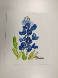 Bluebonnet Watercolor on Kona #5