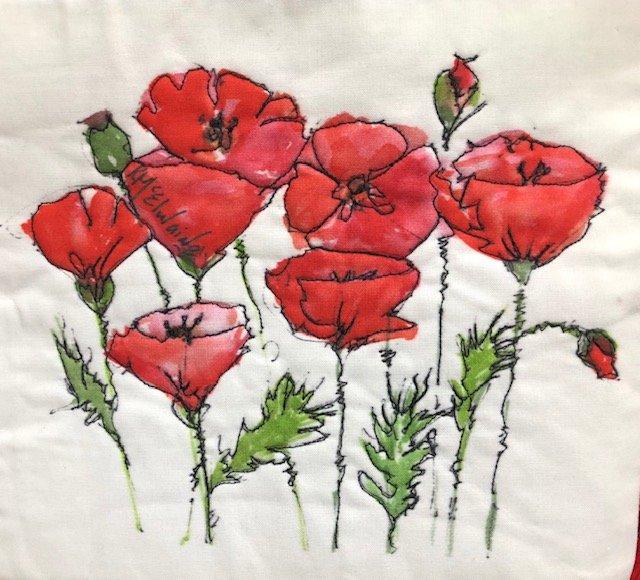 Poppy Watercolor on Kona- Red Poppy Garden