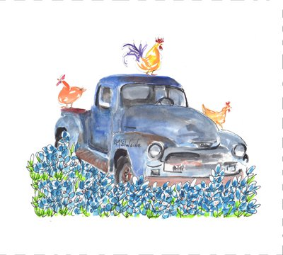 Watercolor on Kona- Blue Truck Perfect