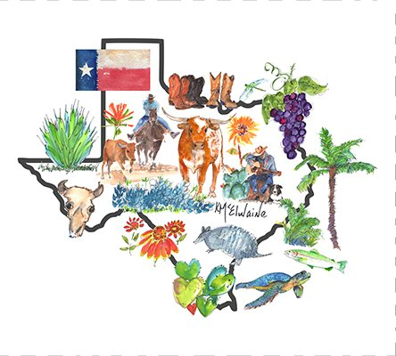 Watercolor on Kona- Texas Icon