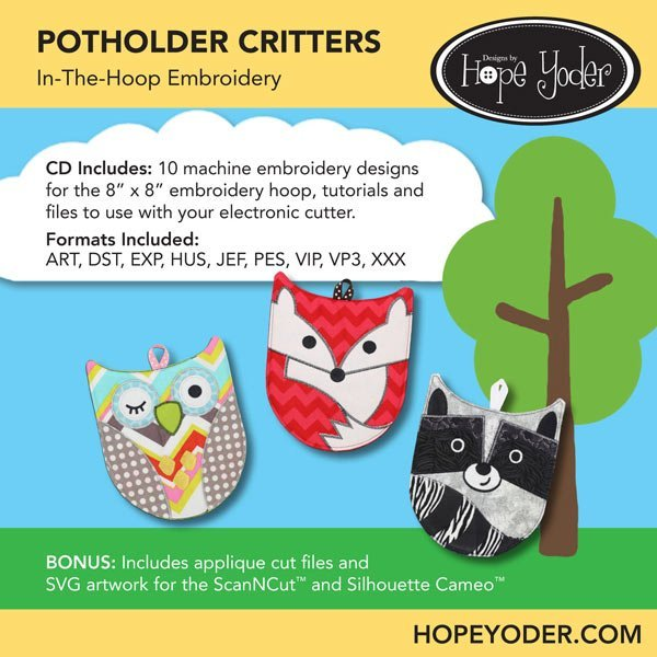 Potholder Critters Embroidery CD w/SVG