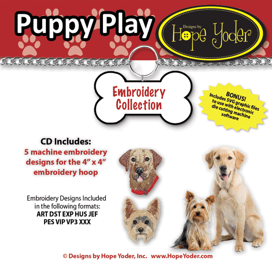 Puppy Play Embroidery CD w/SVG