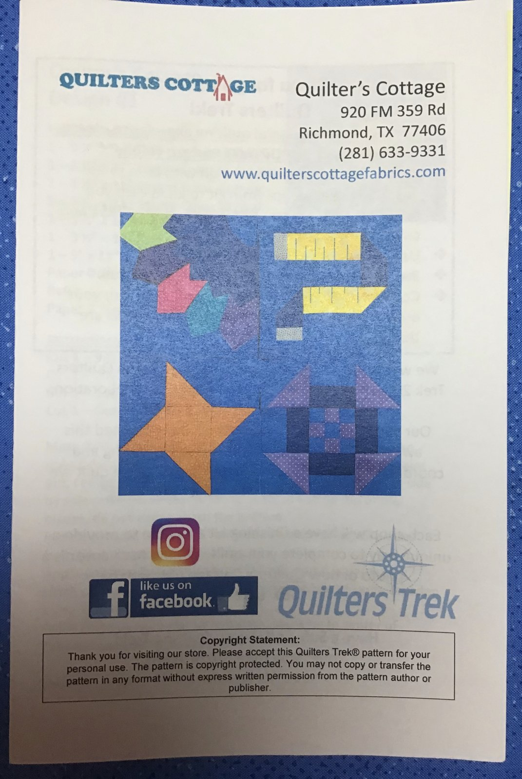 Quilters Trek  Pattern 2020