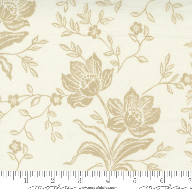 108 Woodcut Floral Cream 11175 11