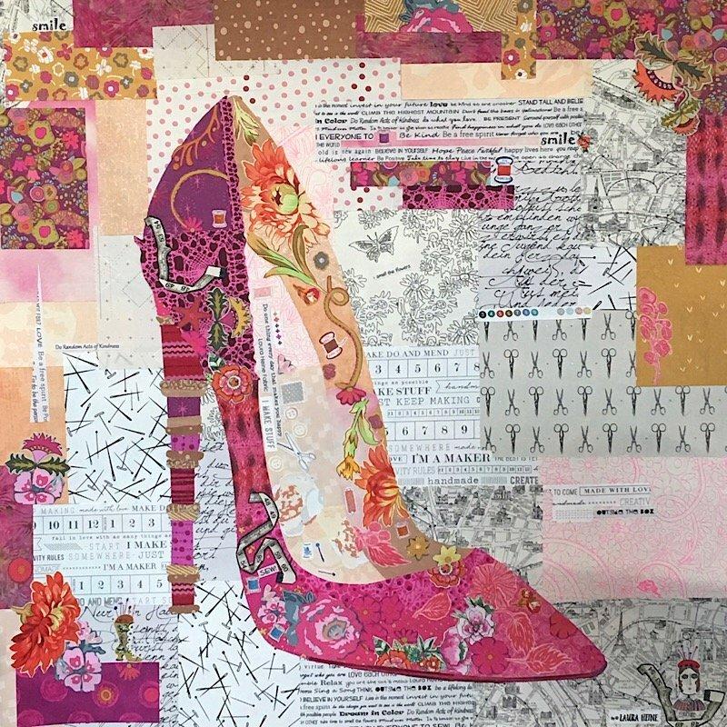 Pink Pump Collage Pattern