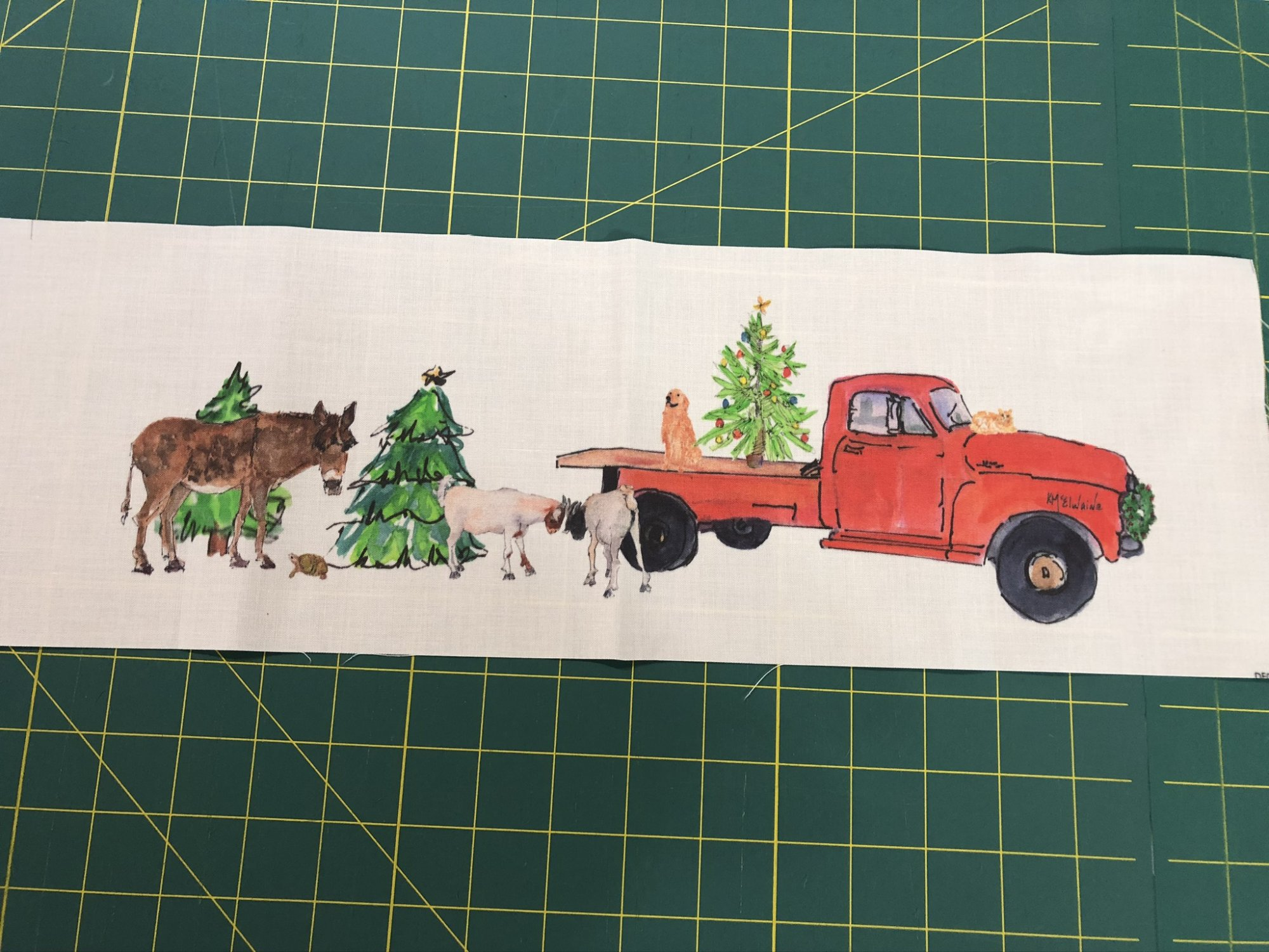 Quilt Block Art Red Truck Christmas