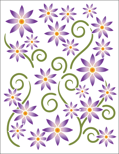 Tattoo Asters Violet on Wht