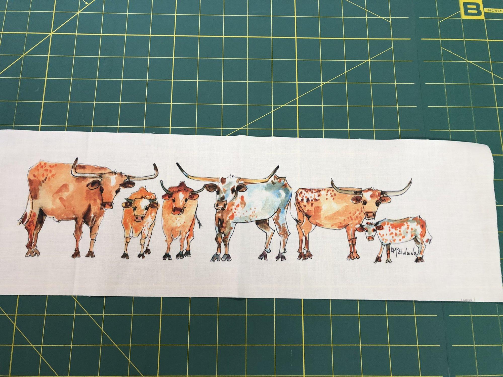 Quilt Block Art Longhorns and Calves