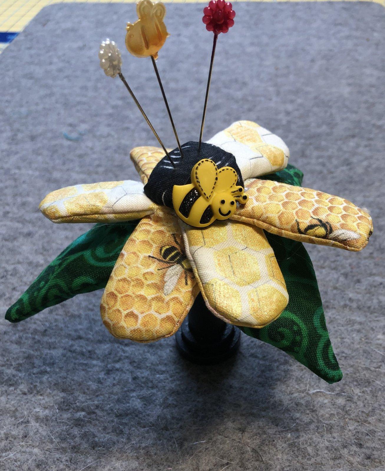 Flower Pincushion Kit w wooden spool - Bumblebee