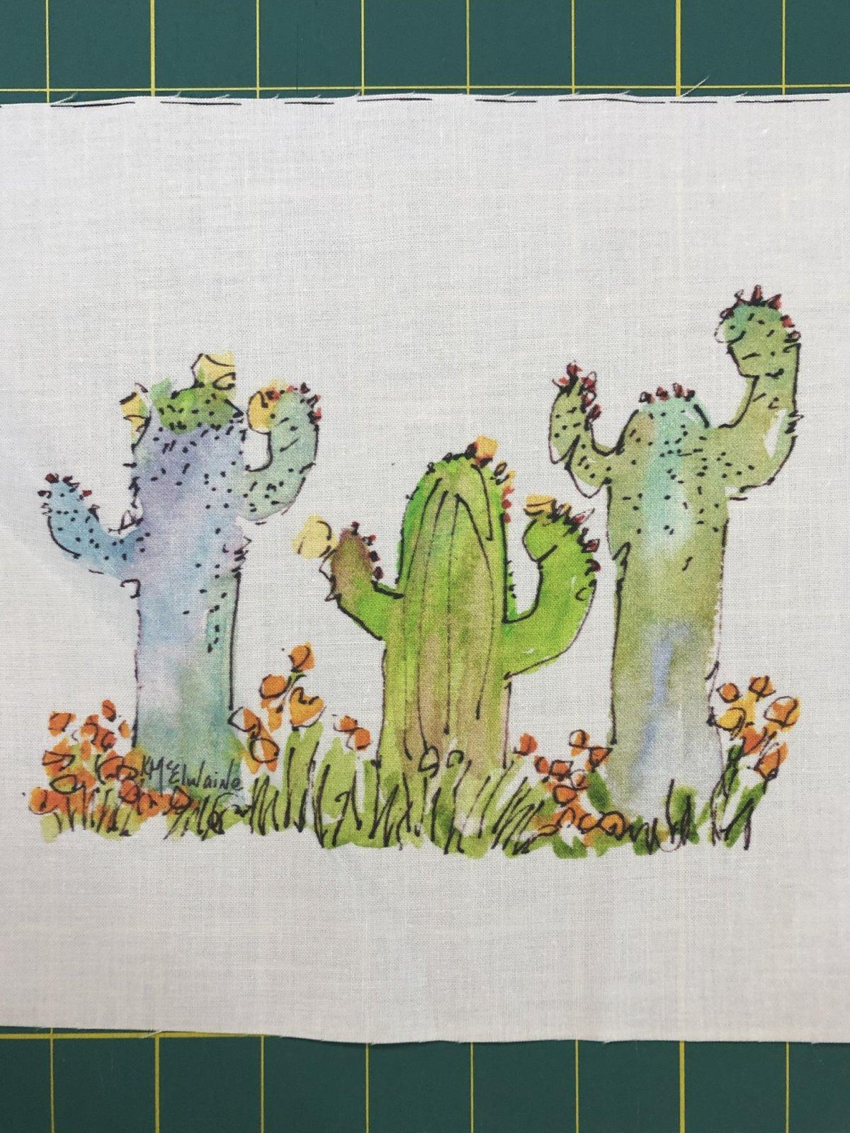 Quilt Block Art 3 Cactus