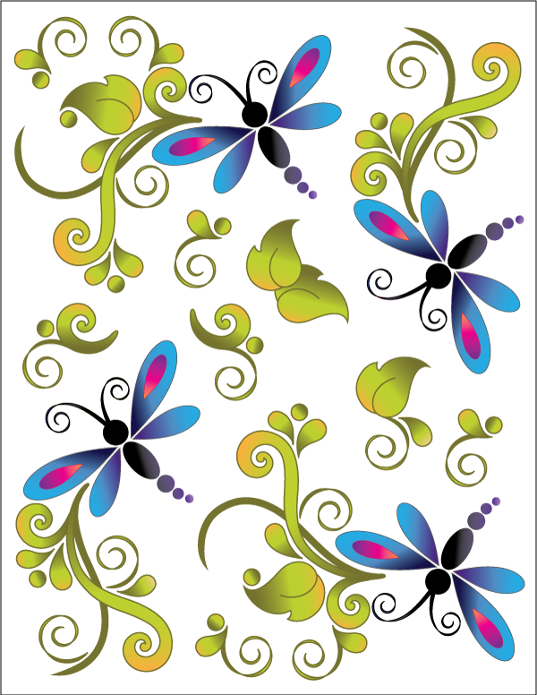 Urban Elementz dragonfly bliss tattoo on white
