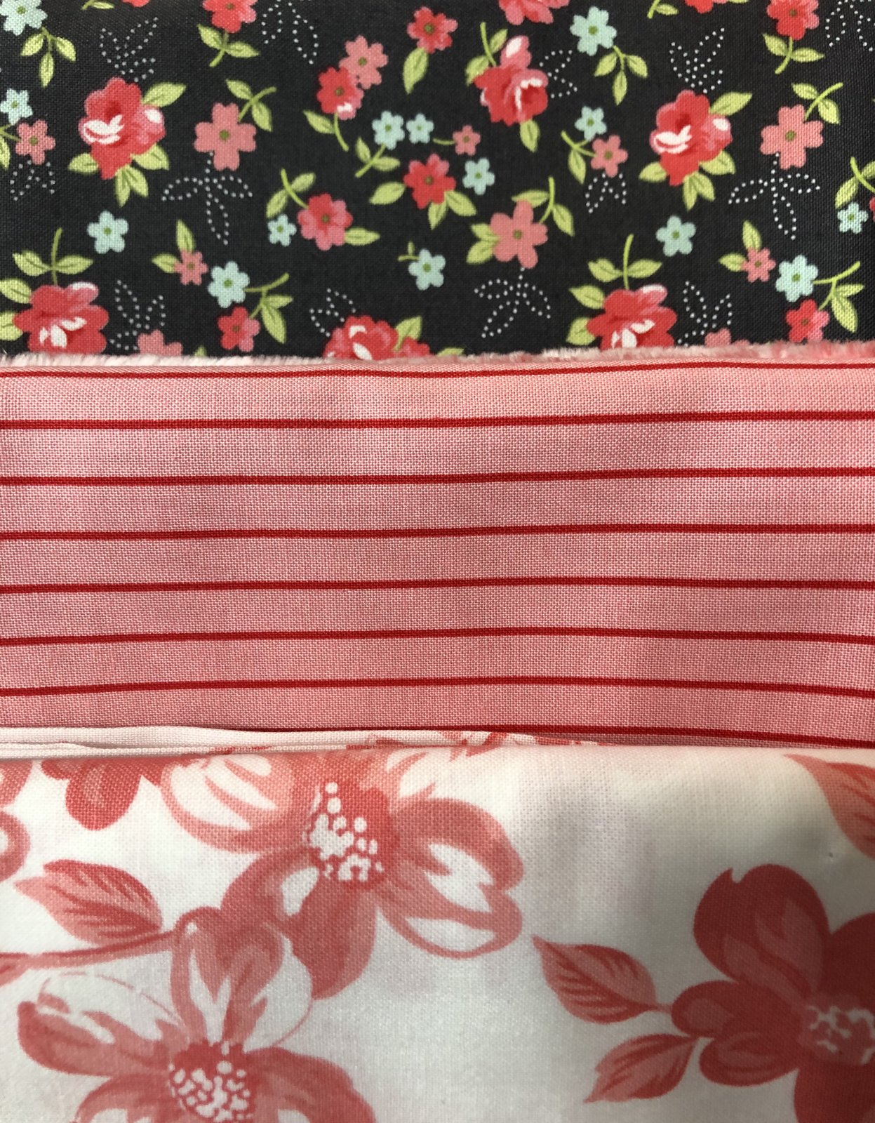 3 Yd Bundle Gray and Pink Floral