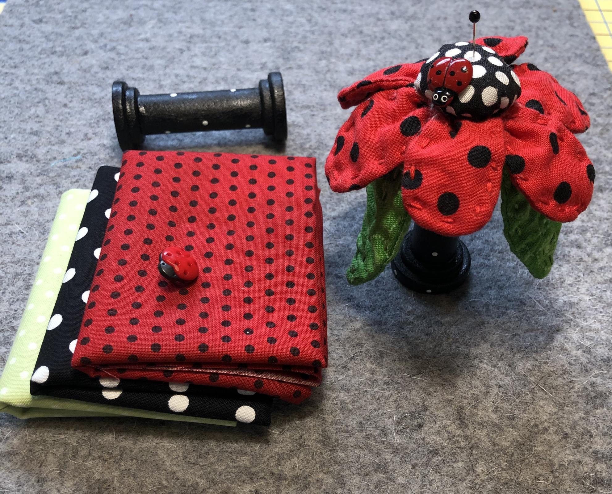 Flower Pincushion Kit w wooden spool - Ladybug