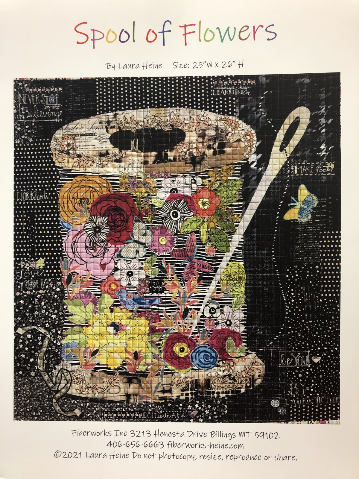 Spool of Flowers Collage Pattern by Laura Heine