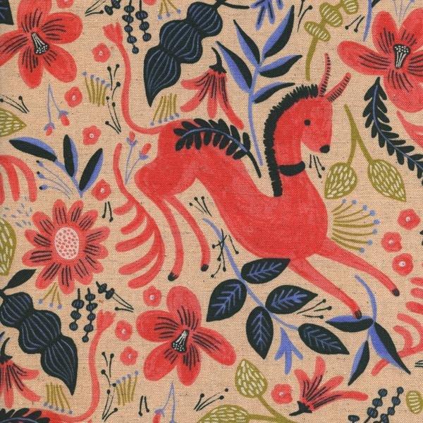 Rifle Paper Co Les Fleurs Folk Horse - Coral Linen