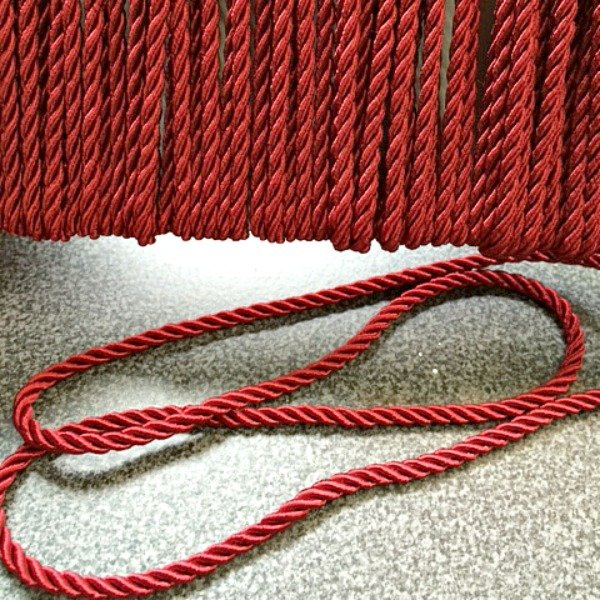 Decorative Trim - Twisted Acetate Cord Red