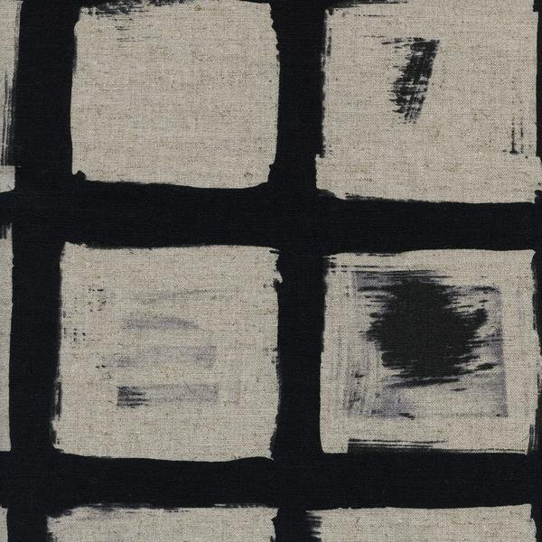 C + S Black and White Woodblock Linen