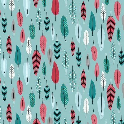 Stof Fabrics - Jersey Print - Feathers Turquoise and Red ST19-016