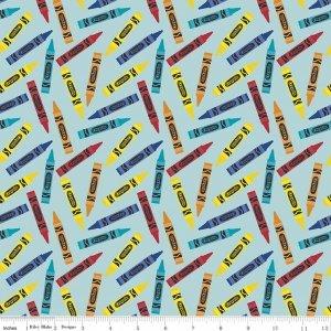 Riley Blake - All About Crayola F5403 Aqua  Flannel