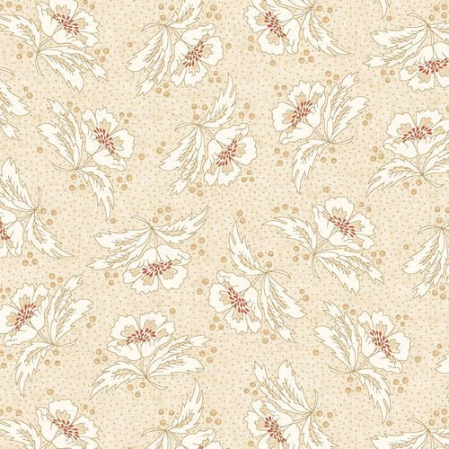 Henry Glass 108 Spiced Paisley Stylized Flower Q0951-44 Lt Cream