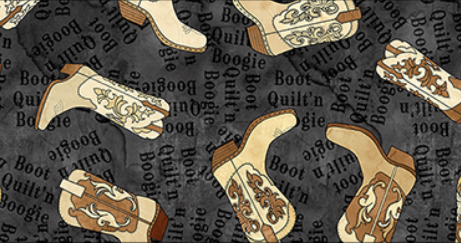 Blank Quilting - Nebraska Shop Hop 9633-99 Cowboy Boots  Beige on Black WILL SHIP 3/1/19 and after