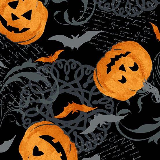 Andover - A-9780-K Midnight Haunt Pumpkin Scroll-Night