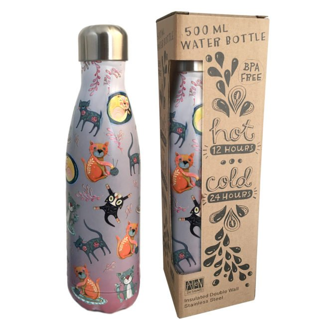 Insulated 500 ml water bottle - Cat House by Allen Designs