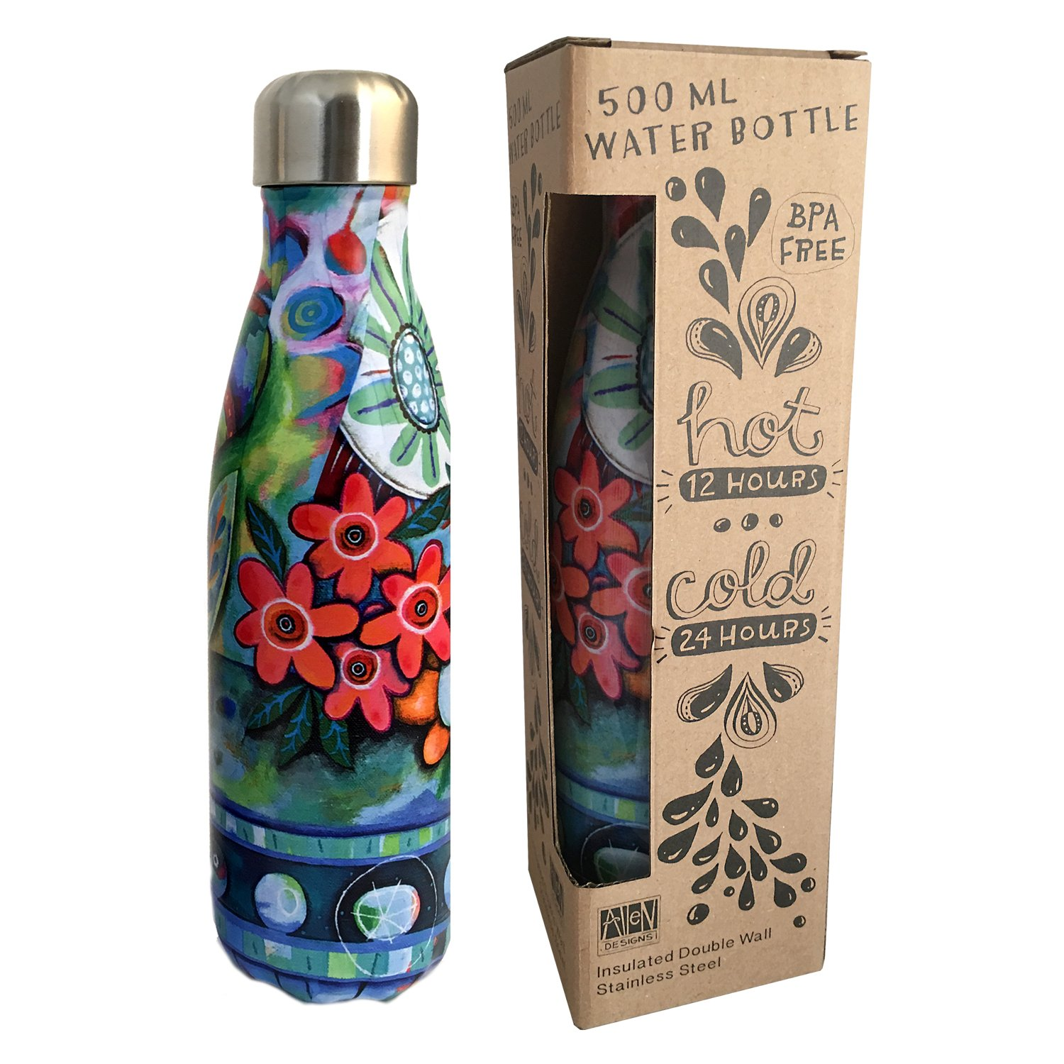Insulated 500 ml water bottle - Flower Blast by Allen Designs
