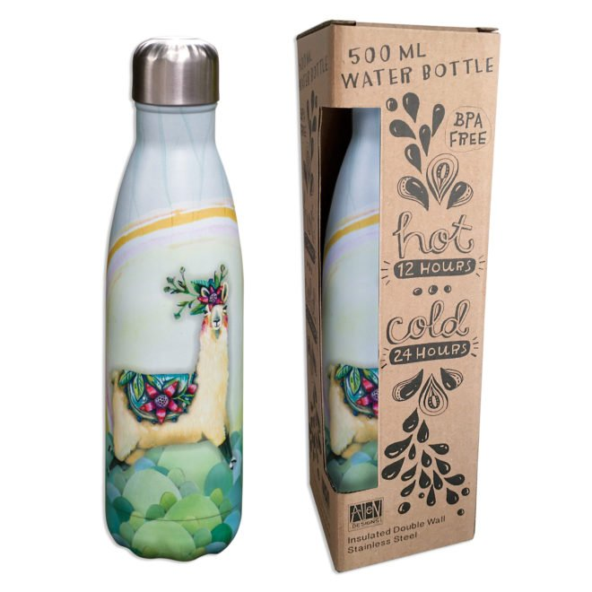 Insulated 500 ml water bottle - Llama Love by Allen Designs