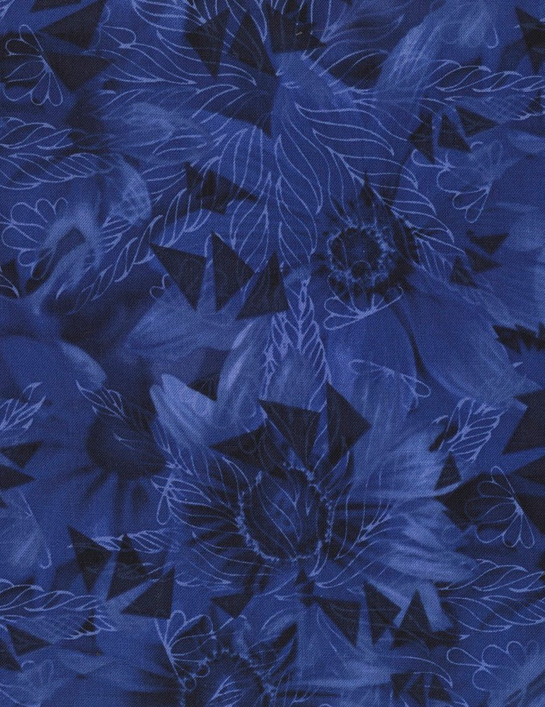 Timeless Treasures - Bohemian Blues - JN-C4062 Daisy - Cobalt