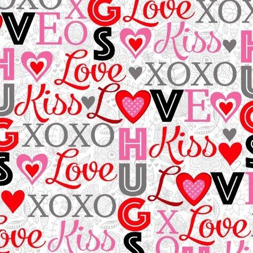 Studio E - Hearts of Love - E4372-28  Words  White/Multi