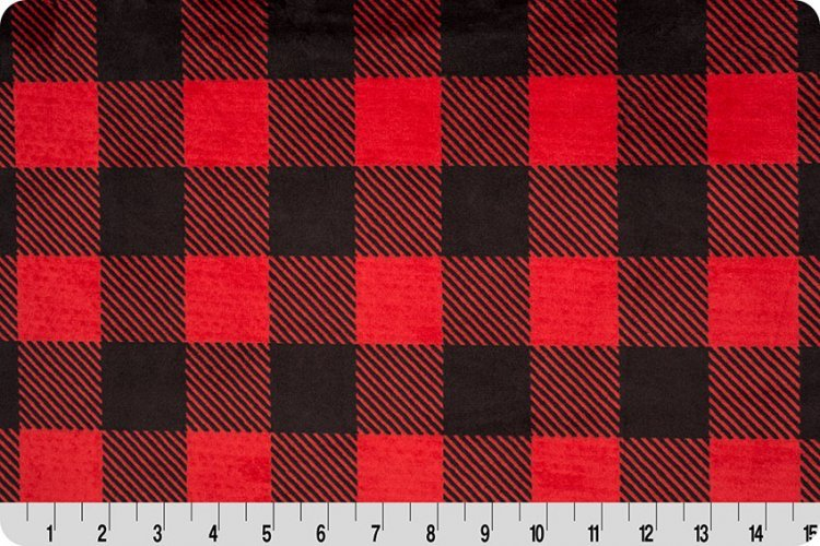 Shannon Fabrics -  Buffalo Check Cuddle 58/60  Scarlet/Black