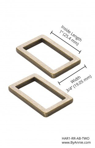 ByAnnie  Rectangle Ring Flat 1in Antique Brass Set of Two