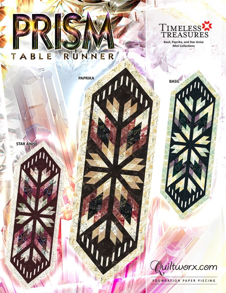 Prism Table Runner - Pattern + Basil Fabric Kit (includes binding)