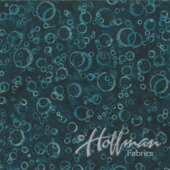 Hoffman Fabrics - Bali Batiks - Q2165-21 by Wildfire Designs Alaska - Bubbles Teal