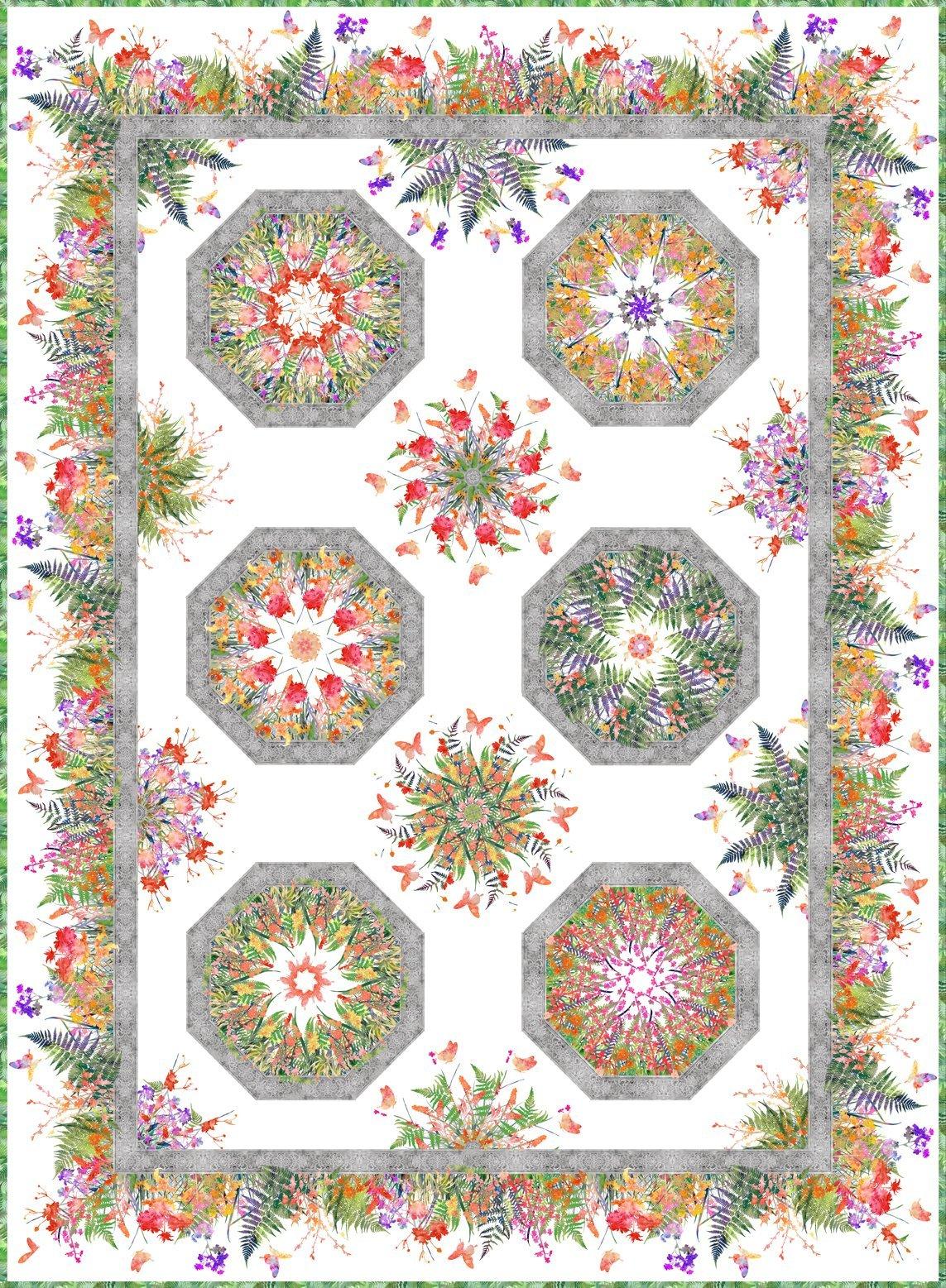 Garden of Dreams One Fabric Kaliedoscope Pattern