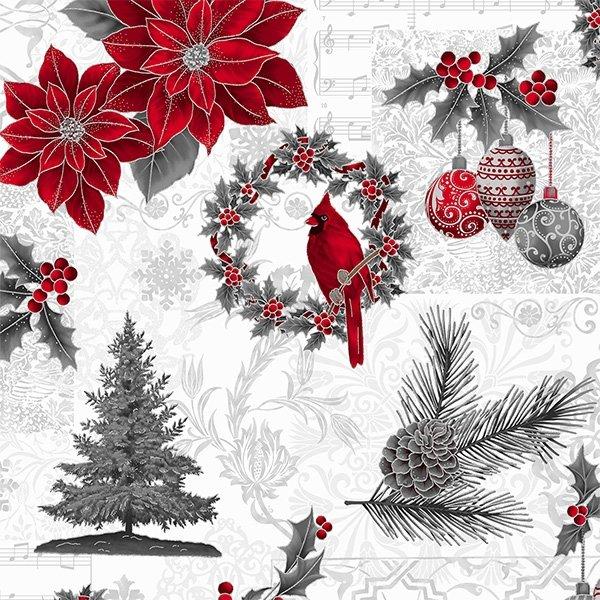 Hoffman - T7750-176S - Joyful Traditions - Ice/Silver