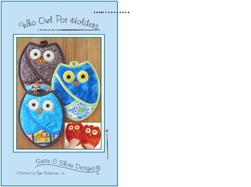 Who Owl Pot Holders - Susie C Shore Designs